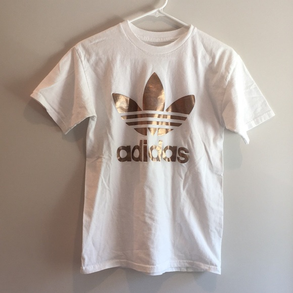 3f666a71728 adidas Tops   White And Rose Gold Shirt   Poshmark
